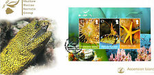 Ascension Island 2013 FDC Shallow Marine Survey 3v M/S Joint Issue Fish Shrimp