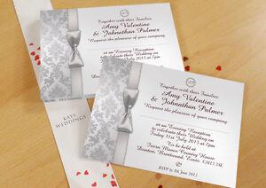 PERSONALISED DAMASK WEDDING DAY & EVENING INVITATIONS INC ENV DAMASK 3