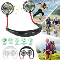 Portable Hanging Neck Fan USB Rechargeable Dual Cooling Personal Sport Neckband