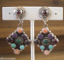 Signed NAKAI Vintage NAVAJO Sterling Silver Multi Stone Cluster CLIP-ON EARRINGS