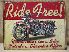 Ride Free Motorcycle Tin Metal Sign Decor Bike FUNNY NEW