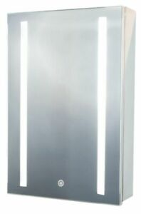 Luxury Polished Stainless Steel Mirror LED Cabinet Bathroom 40x60 cm