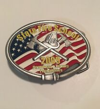 State Fire School American Flag Solid Pewter Belt Buckle