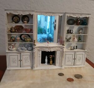RARE Vtg Doll House Fireplace Mantel with Mirror and Surround Wall Piece BESPAQ!