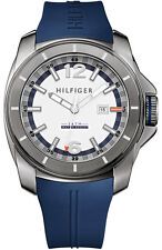 New Tommy Hilfiger Navy Blue Rubber Band Date Men Dress Watch 45mm 1791113 $125