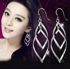 New Women Fashion 925 Sterling Silver Plated Twisted Leaf Dangle Drop Earrings