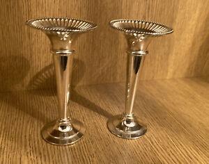 Vintage Pair Of Silver Plated Bud Vases
