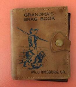 "VINTAGE Leather ""Grandma's Brag Book"" mini photo album wallet - Williamsburg, VA"