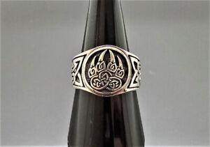 Sterling Silver 925 Ring Viking Bear Paw Claw Slavic Warding Veles Sacred Symbol