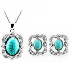 Vintage Turquoise Queen Jewellery Set Earrings Statement Pendant Necklace S628