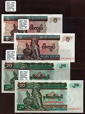 "Myanmar ""αX Replacement"" (1997) HI-VAL 5&20-Kyat x2 {QUAD} UNC Notes: P70&72 (1)"