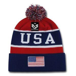 USA American Flag Beanie Knit Toboggan Watch Cap Patriotic Hat Winter Skull Cap
