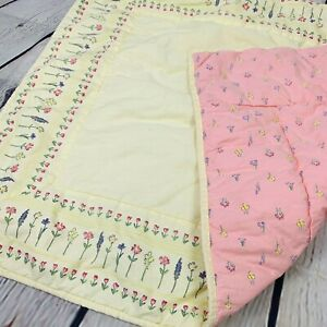 Vintage Gymboree Wildflowers Baby Blanket Quilt Crib Comforter Yellow Floral