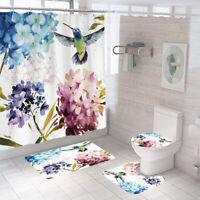 Hummingbird Bathroom Rug Set Shower Curtain Non-Slip Toilet Lid Cover Bath Mat