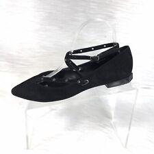 Rebecca Minkoff Women's Ankle Strap Flats Black Suede Size 8 M