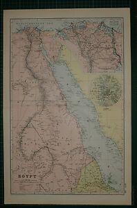 1905 ANTIQUE MAP ~ EGYPT ~ NILE DELTA SUEZ CANAL NUBIA ~ CAIRO ENVIRONS