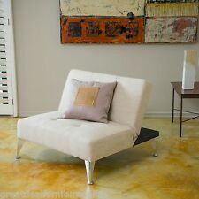 Modern Design Beige Fabric Convertible Chair w/ Tufted Accent