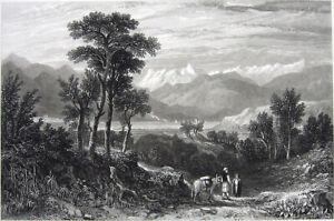Greece, Nafpaktos MOUNTAINS BATTLE OF LEPANTO Phocis ~ 1827 Art Print Engraving