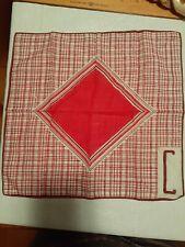 "Vintage Geometric ""C"" Monagram Handkerchief Pink Burgundy Plum 11 x 11"""