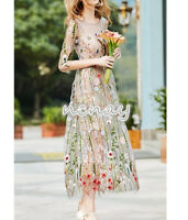 Womens Embroidery Long Dress Occident BOHO Beach Holiday Dresses Long Sleeve New