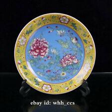 "8""China antique porcelain Yongzheng mark Enamel color flowers plate A"