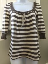 Women's Junior Abercrombie & Fitch Striped 3/4 Sleeve Sweater Small Peasant Boho
