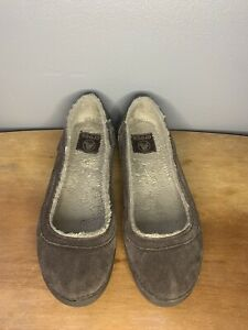 CROCS Berryessa Suede Flat Brown Lined Slip-On Ballet Flats Shoes Women's 7.5