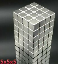 Neodymium Magnet 100pc Strong Rare Earth Block Square 5x5x5mm Magnetic Permanent