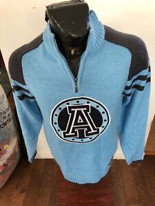 MENS Small Football Zip Neck Knit Pullover Sweater CFL Toronto Argonauts NEW NWT