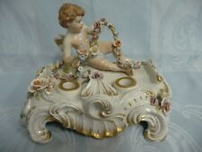 Antique Porcelain Inkwell w/Cherub & Floral Wreath, Early Capodimonte Mark
