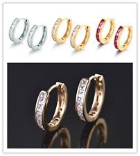 Lovely Channel Diamond Garnet Gemstone Silver & Gold Filled Lady Party Earrings