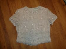 ADRIANNA PAPELL OCASSIONS IVORY SILK BEADED FLORAL DECORATION BLOUSE-14(US)