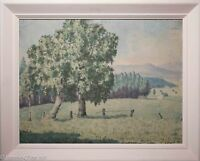 """Mid Century European Landscape Oil Painting in Original Frame, Signed """"F. Wille"""""""
