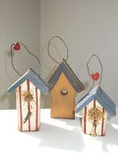 Lot of 3 Rustic Primitive Vintage Wood Patriotic Birdhouse Xmas Ornaments