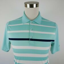 Greg Norman Mens Polyester Play Dry Slim Fit Ss Blue Striped Golf Polo Shirt S
