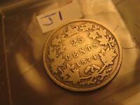 Canada 1874 H Rare 25 Cent Silver Coin IDJ1.