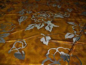 STRETCH VELVET FLORAL BURNOUT- GOLD  -DRESS/CRAFT FABRIC-FREE P&P(UK ONLY)