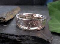 Schöner 925 Sterling Silber Ring Zirkonia Struktur Glatt Akgun Breit Elegant Top
