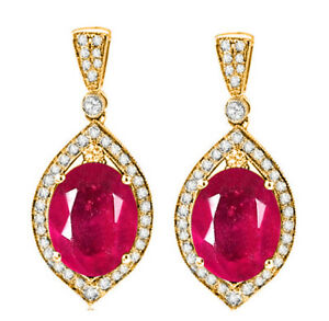 3.60Ct AA Natural Burmese Red Ruby & White Accents Diamond Earrings In 14KT Gold