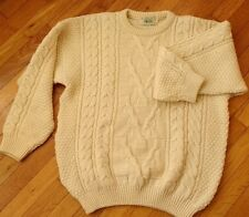 BLARNEY size M mens 100% pure wool Aran chunky cable knit sweater jumper
