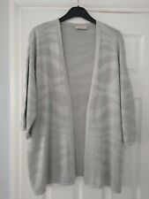 Stunning Silver Grey Per Una M&S Summer Cardigan Size 16 Longline Cotton Mix