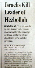 1992 newspaper ISRAEL KILLS Abbas al Musawi Founder Islamic terror grp HEZBOLLAH
