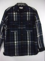 NWOT Wallace & Barnes Mens Large Blue Plaid Heavyweight Overshirt Flannel
