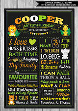 JUNGLE ANIMALS 1ST FIRST BIRTHDAY CHALKBOARD SIGN BIRTHDAY PARTY PERSONALISED
