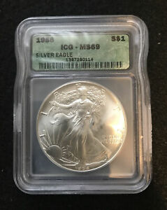 ICG MS69 1986 American Silver Eagle 1 oz Nice Coin First Year