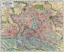 Hamburg City Map from 1912 Vintage Print Poster (Carly's, Oscar Enoch)