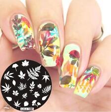 Arte en uñas decoración de placa de imagen Planchas para Estampar Hoja Hojas Otoño Invierno jeje 52