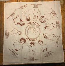 Rare Vintage Phrenology Kerchief Circa 1950's / Great Shape