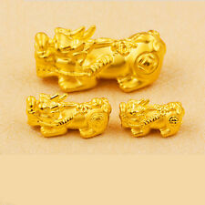 1PCS Pure 999 24K Yellow Gold 3D Coin 貔貅 PIXIU Bead  Pendant / 0.8-1g