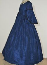Civil War Era / Victorian  Royal Blue Silk Woven Stripe Dress SM